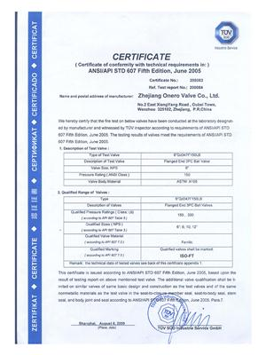 All the Fire safe test certificates of Onero Valve_01