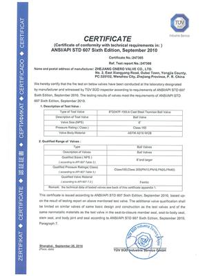 All the Fire safe test certificates of Onero Valve_06