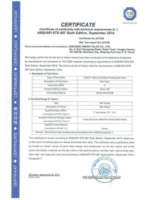 All the Fire safe test certificates of Onero Valve_03