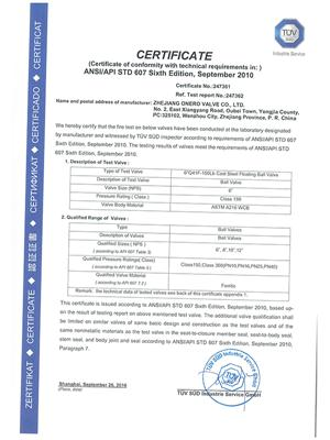 All the Fire safe test certificates of Onero Valve_04
