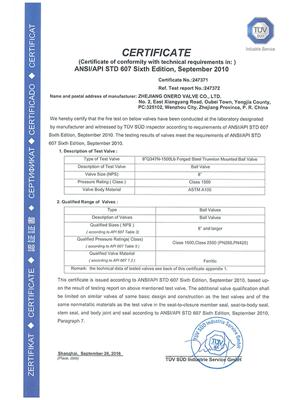 All the Fire safe test certificates of Onero Valve_09