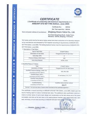 All the Fire safe test certificates of Onero Valve_02